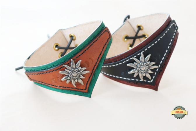 Zwei handgemachte Leder Chokers in unterschiedlichen Farben. Ideal für Steampunk.